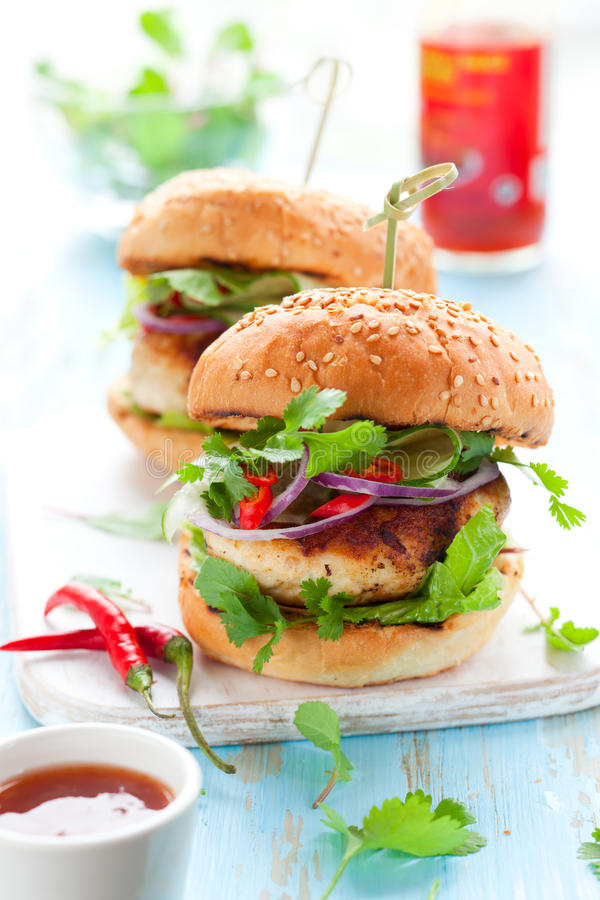 Free Thai Chicken Burger Stock Photography - 25199362