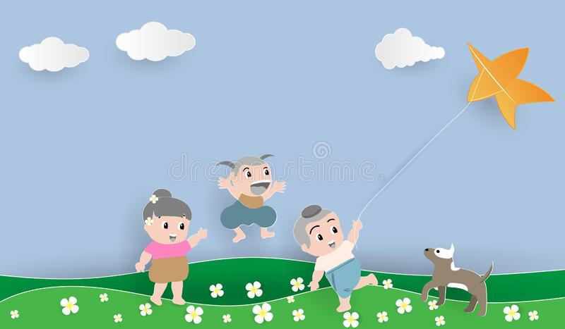 Thai boy and Thai girl playing kite on the green lawn with a trusty dog. stock photography