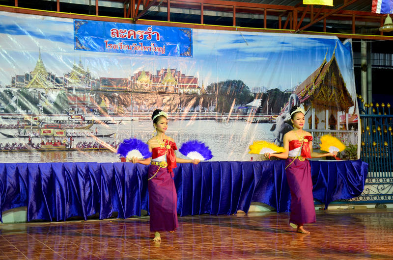 Thai children dancing thai style for show people in Loy Kratong. Festival at Wat Sai Yai on November 25, 2015 in Nonthaburi Thailand royalty free stock image