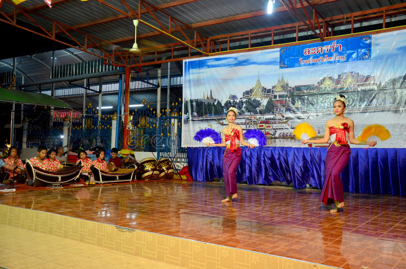 Thai children dancing thai style for show people in Loy Kratong. Festival at Wat Sai Yai on November 25, 2015 in Nonthaburi Thailand royalty free stock images