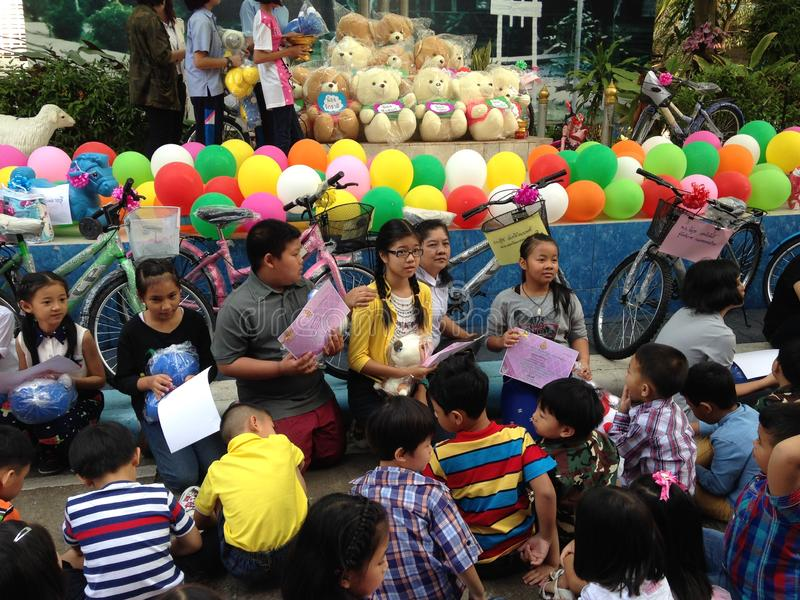 Thai primary school students on children`s day royalty free stock image