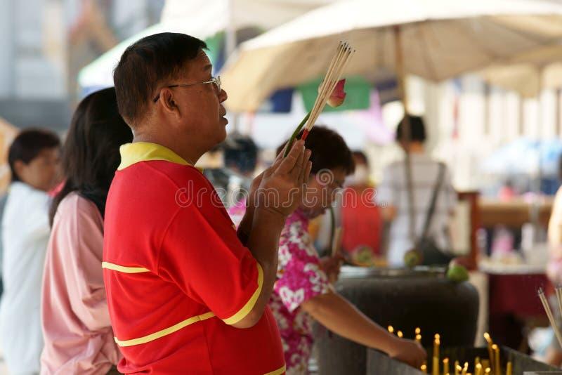 Thai Chinese People Praying Editorial Stock Photo