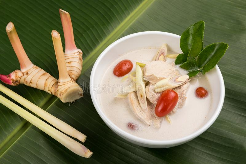 Thai coconut chicken soup Tom Kha Kai in bowl royalty free stock images