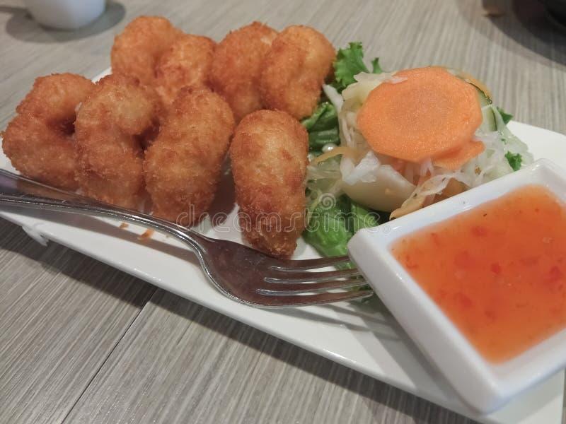 Thai Coconut Shrimp Mixed Veggies stock afbeelding