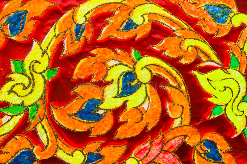 Thai colorful Pattern. Thai Stucco Pattern On The Church royalty free stock image