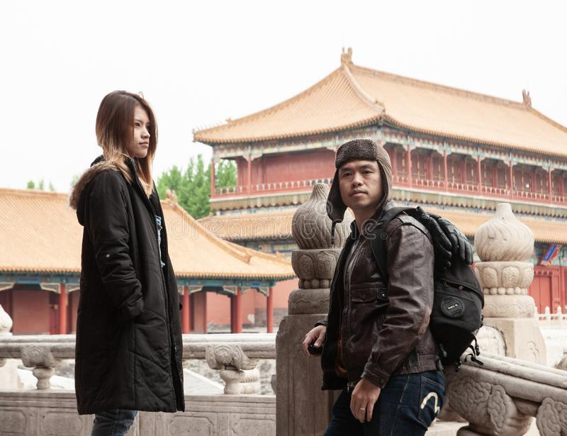 Thai couple travel to Beijing stock images