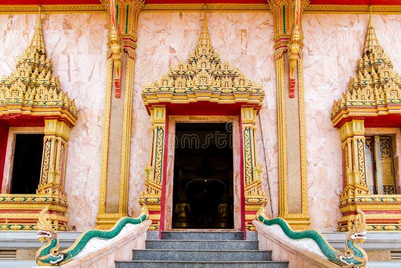 Thai Craft : LAI THAI pattern in Temple stock images