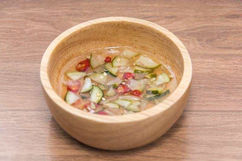 Thai Cucumber Relish sauce. Close up of Thai Cucumber Relish sauce royalty free stock image