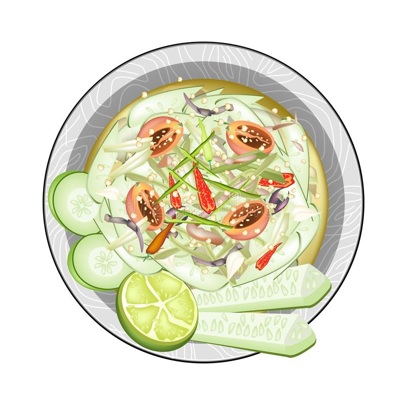 Thai Cucumber Salad with Fermented Salted Crabs. Cuisine and Food, Plate of Cucumber Salad with Fermented Salted Crabs. One of The Most Popular Dish in Thailand vector illustration