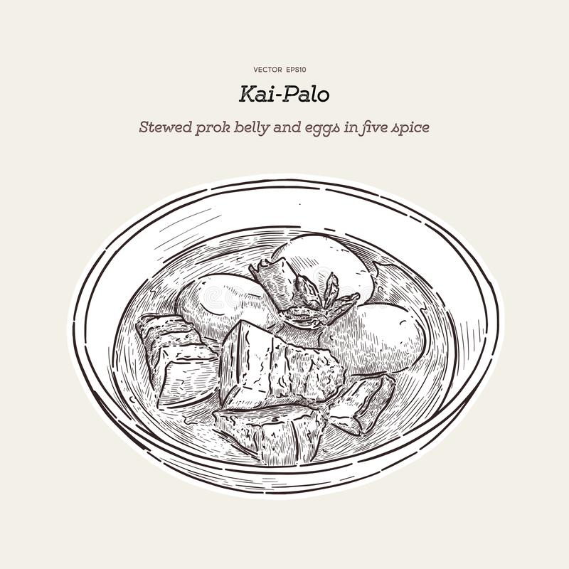 Thai cuisine Pork Belly and Egg with five spice. hand draw sketch vector. Thai Cuisine called `Kai Palo` , Boiled eggs with chicken drumstick and fried tofu in vector illustration