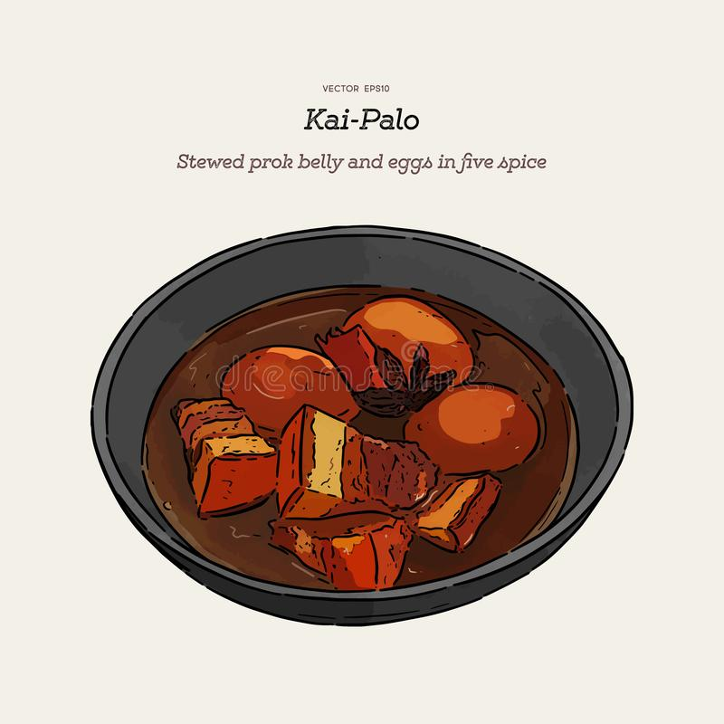 Thai cuisine Pork Belly and Egg with five spice. hand draw sketch vector. Thai Cuisine called `Kai Palo` , Boiled eggs with chicken drumstick and fried tofu in stock illustration