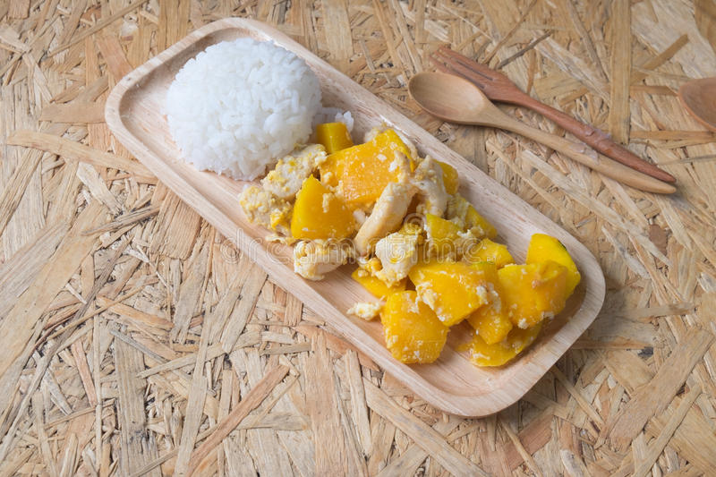 Thai cuisine and food, homemade stir fried pumpkin royalty free stock images