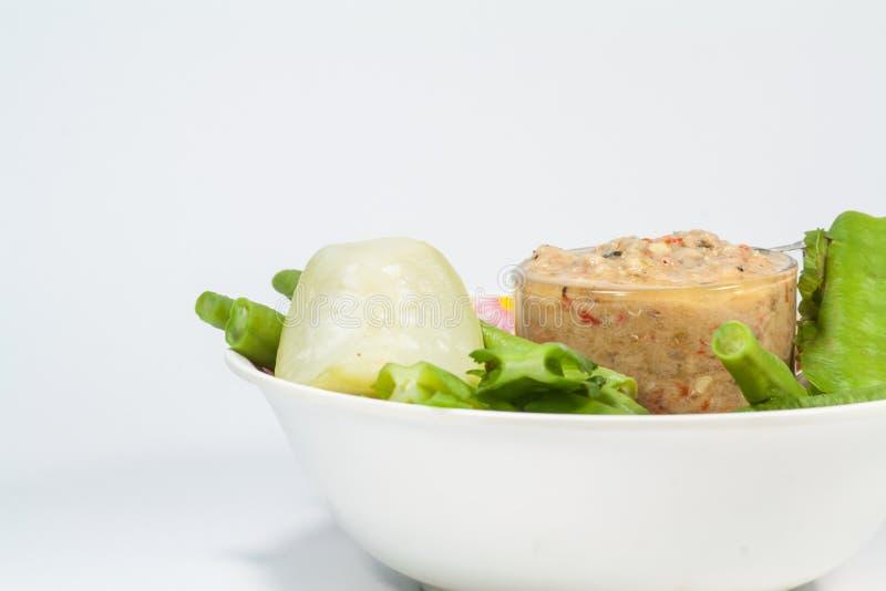 Thai cuisine nam prik or chilli paste mixes with fish stock photos