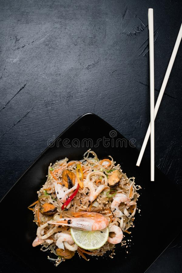 Thai restaurant menu seafood meal noodle prawn royalty free stock photo
