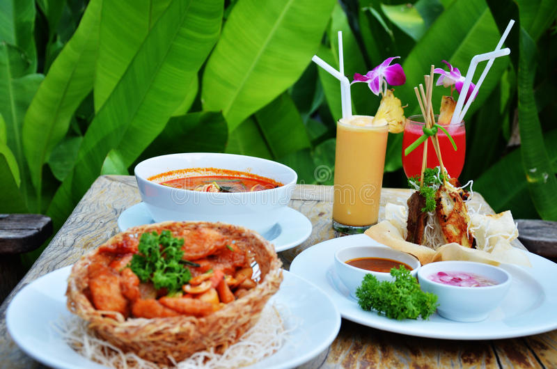 Thai cuisine set. Thai cuisine is the national cuisine of Thailand. Blending elements of several Southeast Asian traditions, Thai cooking places emphasis on royalty free stock image