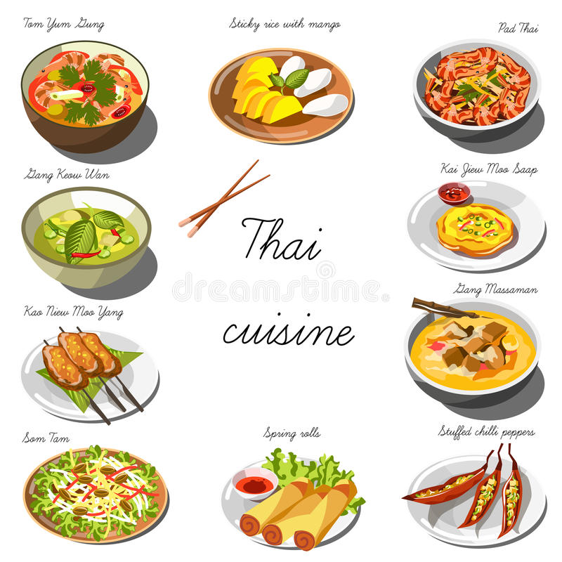 Thai cuisine set. Collection of food dishes stock illustration