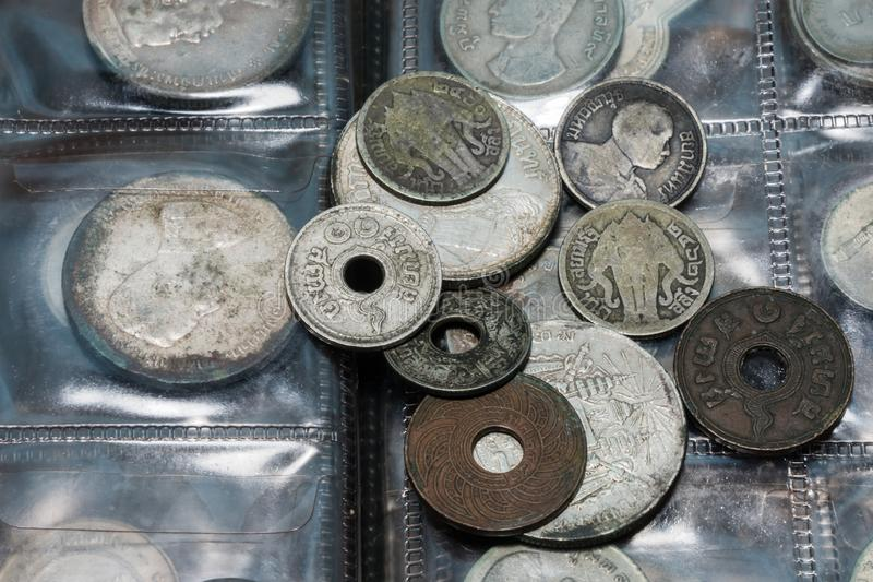 Thai currency coins have many prices and sizes stock image