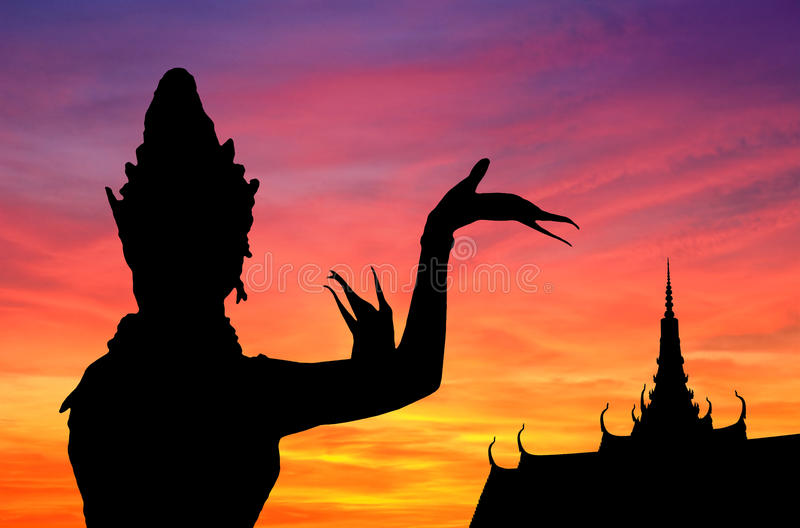 Thai dance sunset royalty free illustration