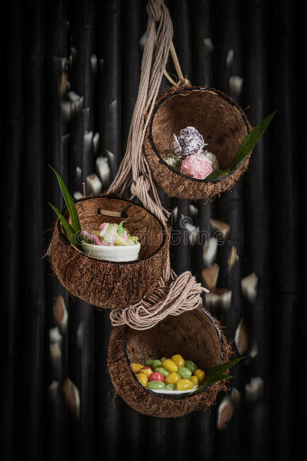 Thai desert. Thai desert in coconut shell royalty free stock photo