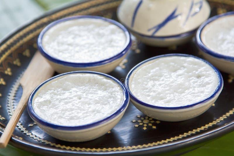 Thai dessert. Made of coconut milk, flour,pandan leaves and tapioca flour stock photos