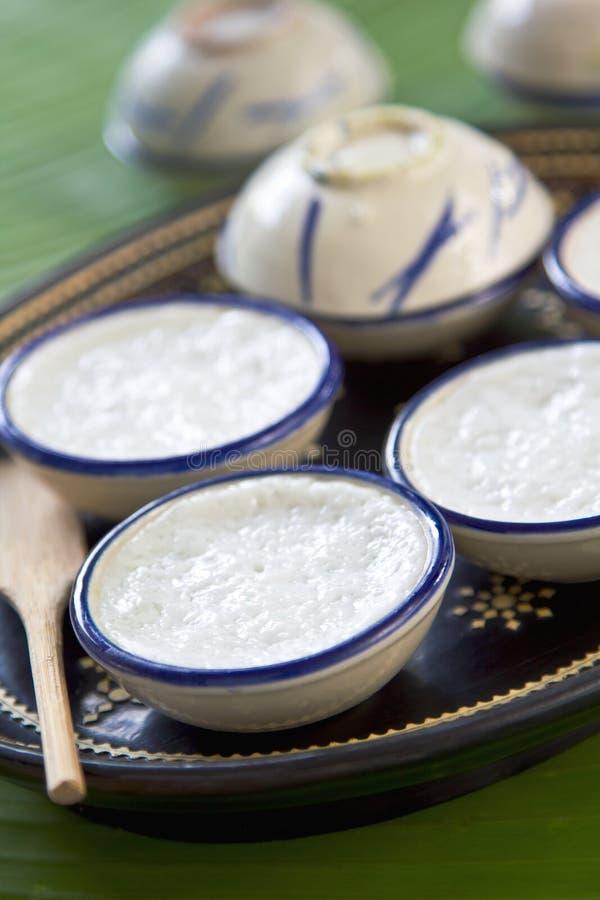 Thai dessert. Made of coconut milk, flour,pandan leaves and tapioca flour stock image