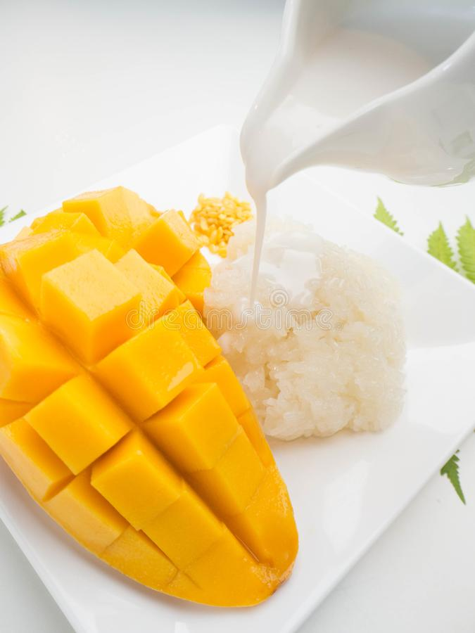 Thai dessert concept.  Mango and sticky rice stock images