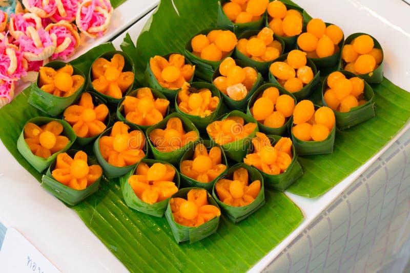 Thai dessert, Doonghiib, bean paste, egg yolk fudge balls cooked. In syrup, golden threads stock image
