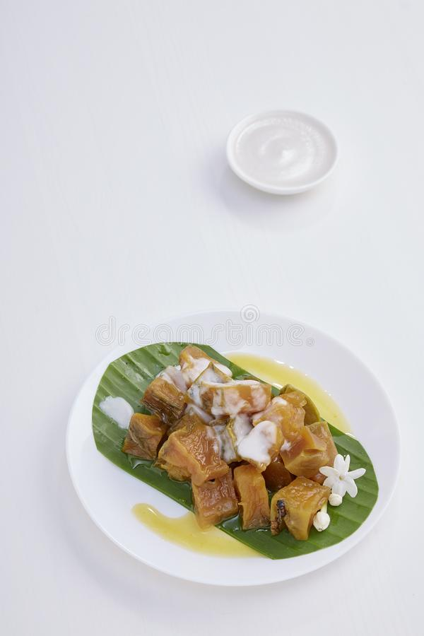 Thai dessert food with Pumpkin in syrup royalty free stock images
