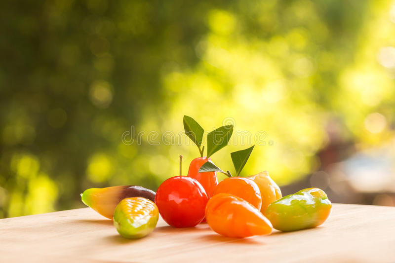 Thai dessert plating ball. With green nature background royalty free stock photo