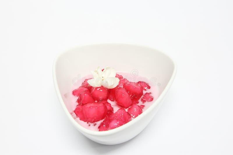 Thai dessert. Red sweet ruby royalty free stock photos