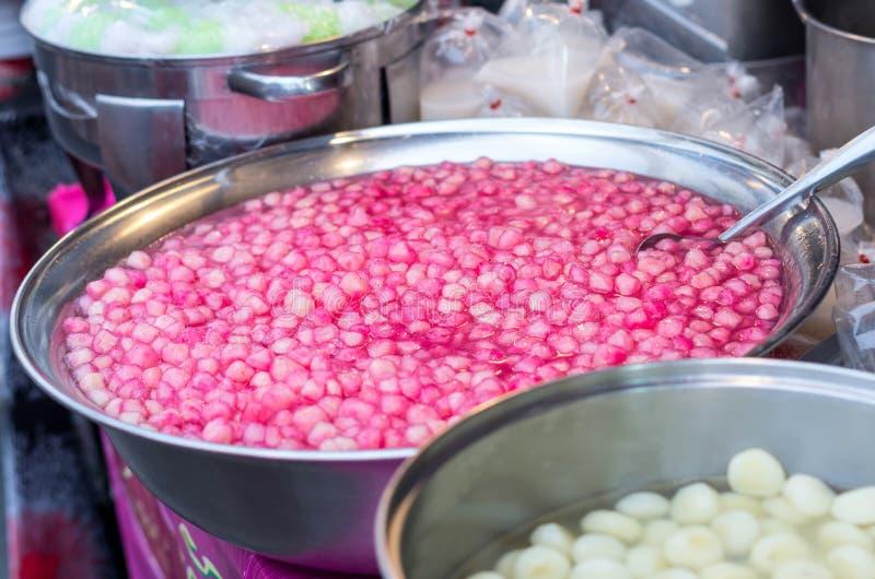Thai dessert red sweet ruby framework in stainless steel bowl on royalty free stock photo