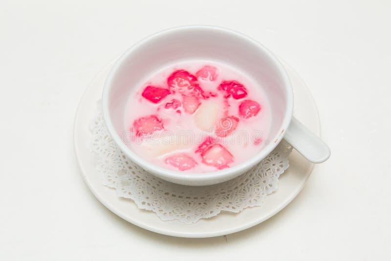 Thai dessert, ruby red sticky flour stuffed royalty free stock photo