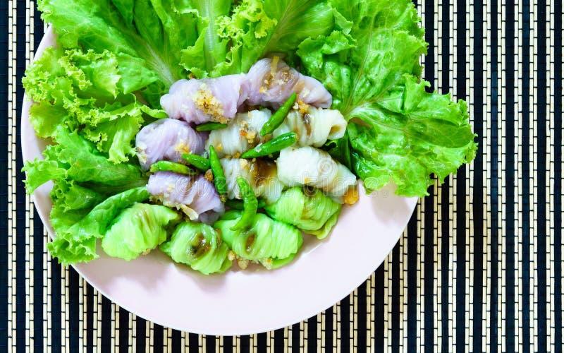 Thai dessert Steamed rice skin dumplings royalty free stock images
