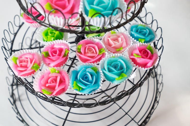 Thai dessert sweet shape rose aalaw,allure colorful. On tray decoration stock photography
