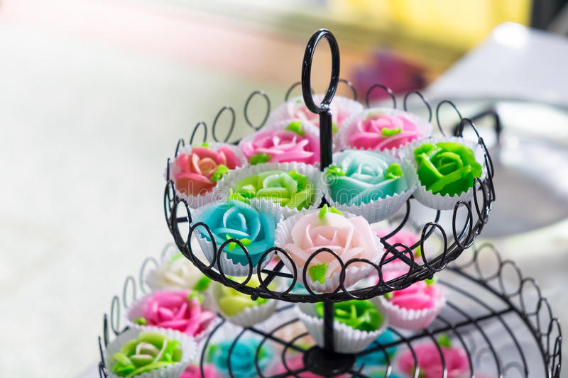 Thai dessert sweet shape rose aalaw,allure colorful. On tray decoration royalty free stock photography