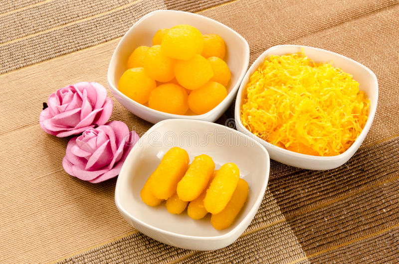 Thai dessert. Thai sweetmeat dessert made from egg and sugar royalty free stock images