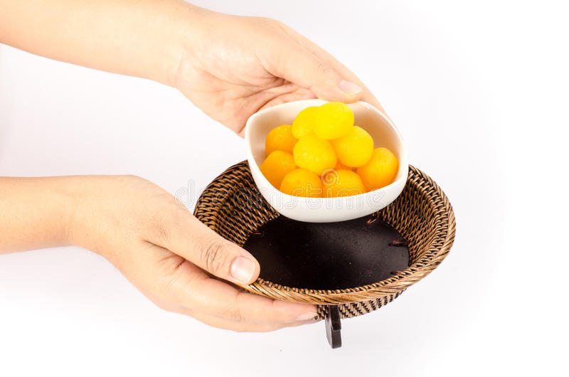 Thai dessert. Thai sweetmeat dessert made from egg and sugar royalty free stock image