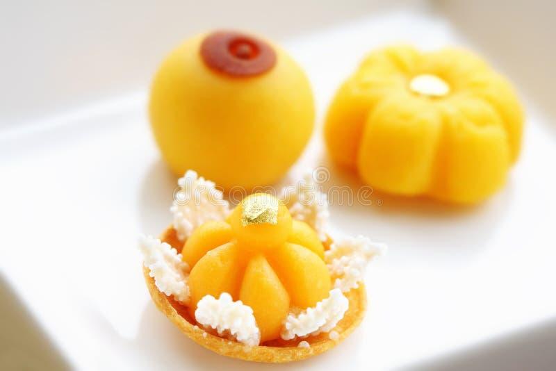 Thai desserts. Thai traditional desserts on dish stock photos