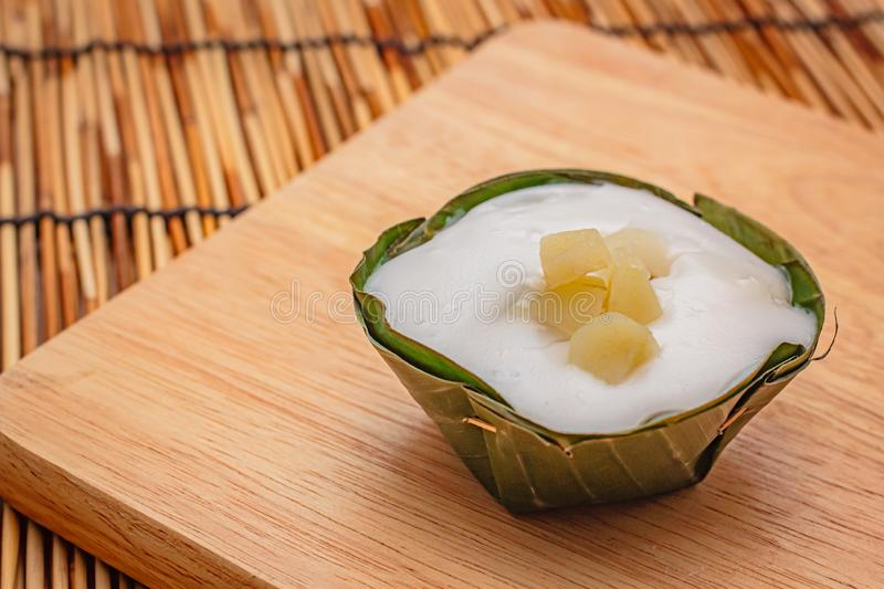 Thai desserts in banana leaf. Natural ingredients royalty free stock images