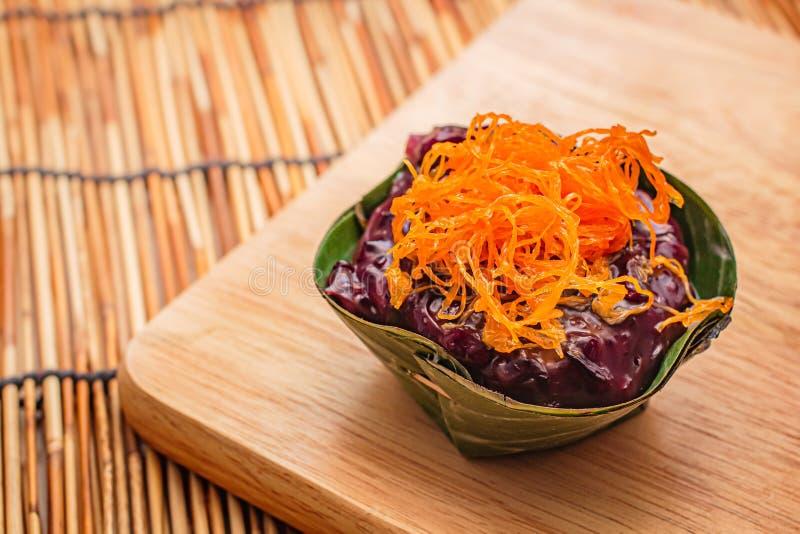 Thai desserts in banana leaf. Natural ingredients stock image