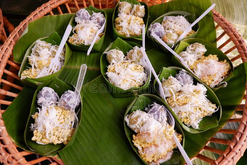 Thai desserts With coconut. Green beans royalty free stock photos