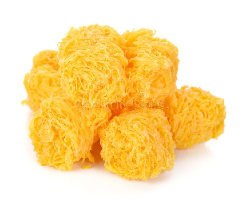 Thai desserts. `Foi Thong` golden egg yolks threads on white background stock images