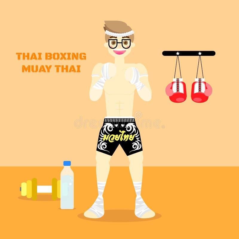 Thai die muay Thai met de mens, sportconcept op oranje achtergrond in dozen doen royalty-vrije illustratie