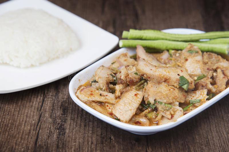 "Thai dish called ""Nam Tok Moo"", Roasted pork and basil mixed royalty free stock photos"