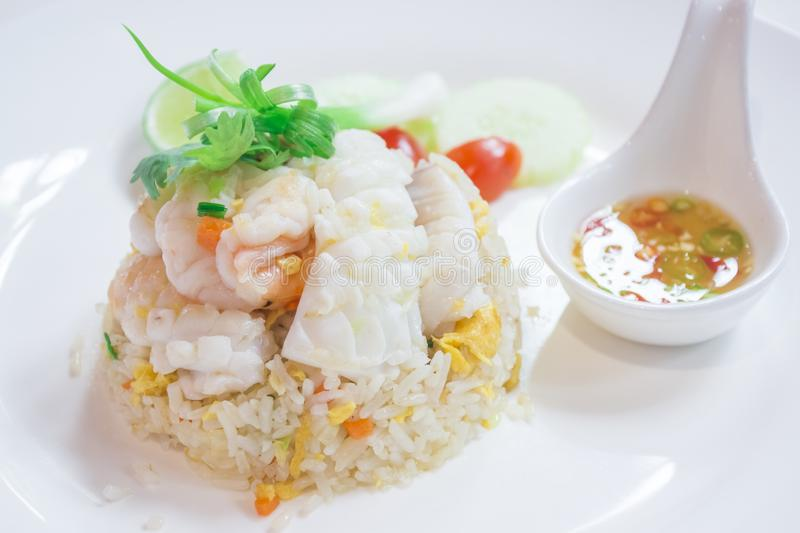 Thai Dishes called Kao Pad, Stir fried Rice Seafood, Chinese food, Japanese food. Kaw, thailand, shrimp, white, traditional, meal, asian, gourmet, dinner royalty free stock photo