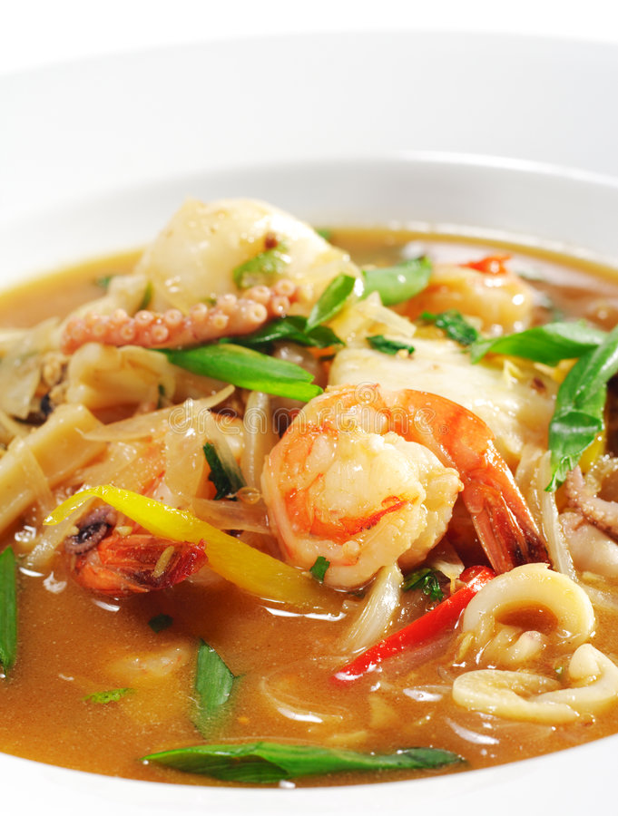 Thai Dishes - Seafood with Lemon Sorgho stock images
