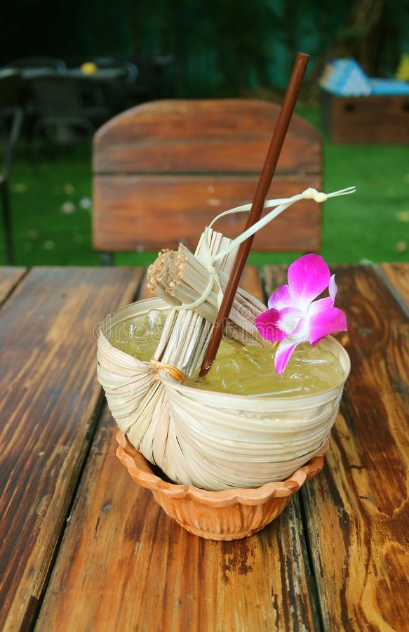 Thai Eastern Style Sweet and Sour Calamansi Citrus Juice Served at the Patio Seating stock photo