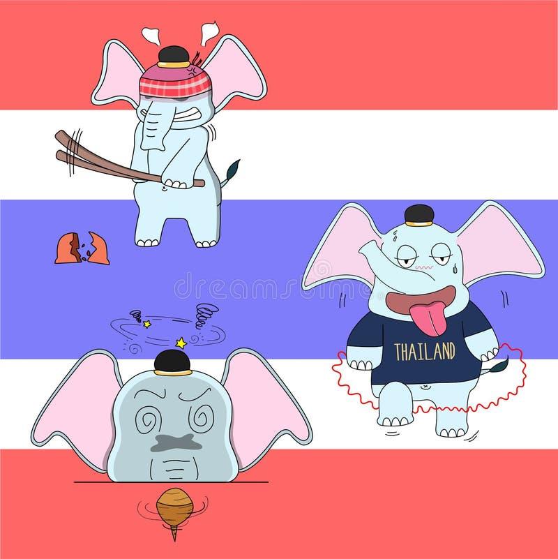 thai elefanttecken, vektorillustration, Thailand satir royaltyfri fotografi