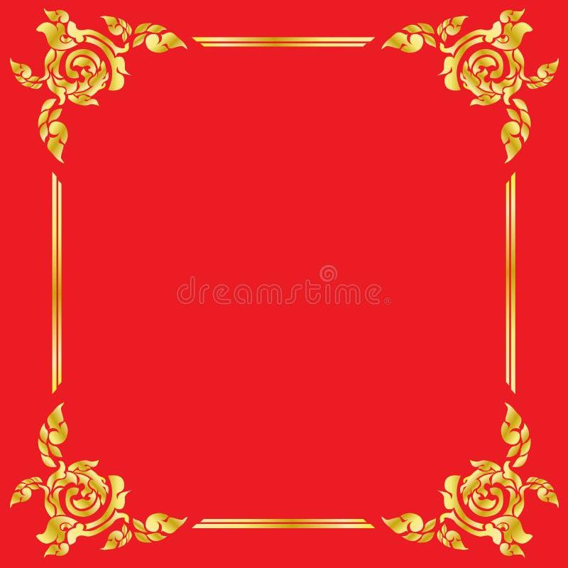 Thai elegant art Gold border frame in red background. stock illustration