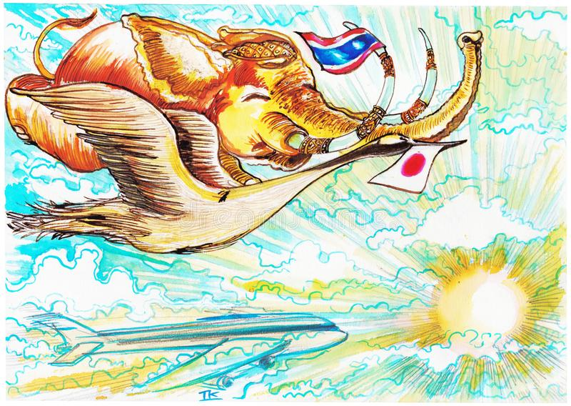 Thai elephant flying with Flamingo of Japan has flag airway symbol cartoon painting stock images
